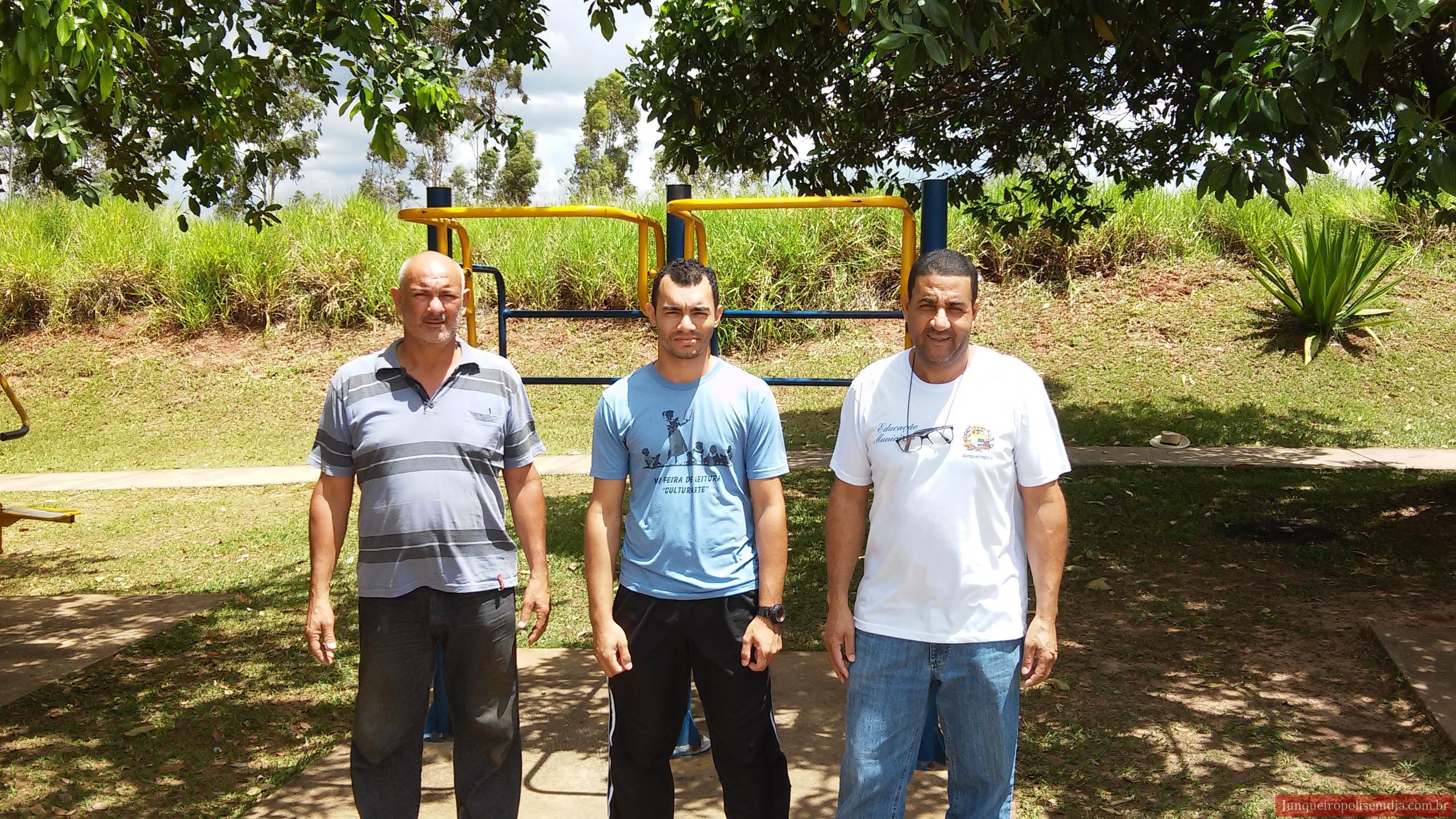 Júnior Volpon, Américo Borges e Aparecido Figueiredo, em vistorias nas academias ao ar